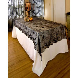 Rectangle Spider Web Lace Tablecloth Banner Halloween Party Table Decoração, Tamanho: 122x244cm
