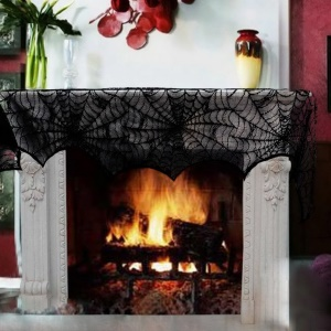 18x98inch/45x248cm Black Spider Web Lace Halloween Decoration Fireplace Lamp Cover Curtain Festive Party Decoration