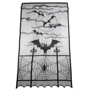 Halloween Decoration Polyester Fiber Lace Window Curtain Bats Spider Curtain, 101x213cm