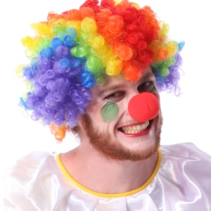 Colorful Cosplay Clown Hair Wig + Sponge Clown Nose for Halloween Party Masquerade Costume Ball