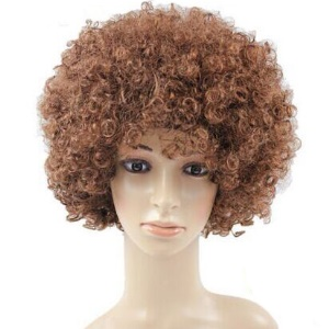 Fashion Unisex Adult & Children Short Curly Afro Hair Wig - Brown