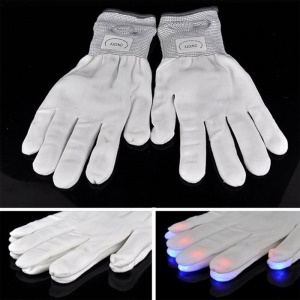 White Cotton Gloves 6 Modes Red+Green+Blue Multi Color LED Lights Halloween Performance Props