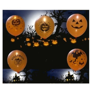 5PCS/Set 12 Inch Halloween Random Pattern Luminous Balloon LED Flash Balloons