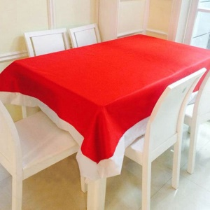 132X178cm Kitchen Dinning Tabletop Decoration Red Table Cloth for Happy Christmas Day and Other Festivals - Red