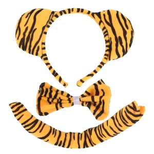 3Pcs Tiger Headband Tail Bow Tie Playthings Costume Set