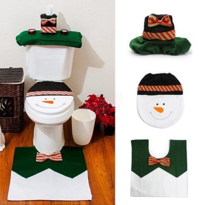 Christmas Toilet Seat Cushions Toilet + Tissue Paper Cover + Tank Cover