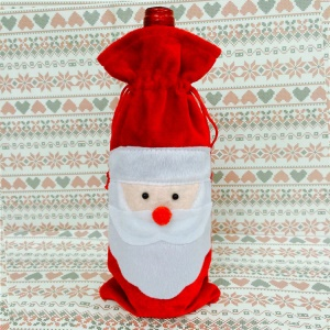 Christmas Santa Claus Wine Bottle Cover Holder Gift Bag Home Party Decoration, Size: 14 x 33cm