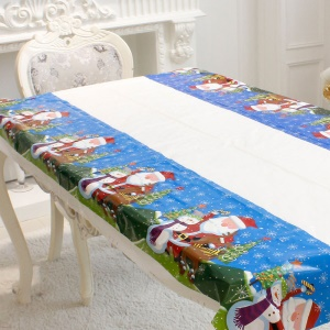 PVC Table Cloth Christmas Decorations for Home Festival Party Decoration - Santa
