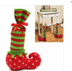 Christmas Elf Shoe Chair Desk Table Leg Cover Red Wine Bottle Cover (One Piece)