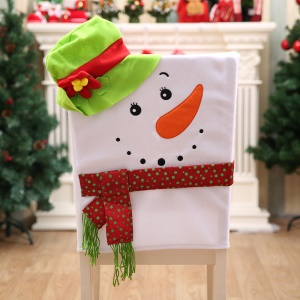 Flannelette Snowman with Hat Chair Cover Decoration for Christmas Parties - Green Hat
