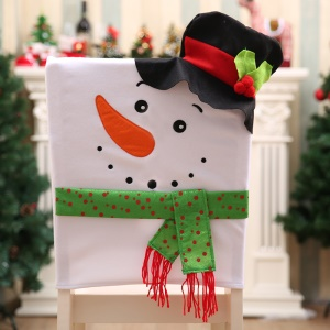 Flannelette Snowman with Hat Christmas Decoration Ornaments Chair Back Cover - Black Hat