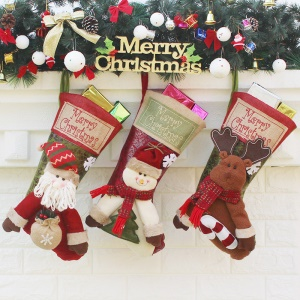 3PCS/Pack Soft Christmas Stocking Sock Children Gift Candy Sock Bag with Hanging Loop - Style D