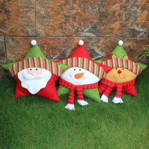 3PCS/Pack Five-pointed Star Christmas Sofa Cushion Pillow - Style A