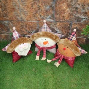 3PCS/Pack Christmas Five-pointed Star Sofa Cushion Pillow - Style B