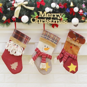 3PCS / Pack Christmas Stocking Sock Children Gift Candy Pocket, taille: 15 x 32 x 19.5cm