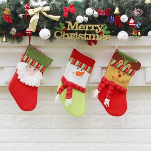 3PCS/Pack Christmas Stocking Socks Children Gift Candy Hanging Pocket, Size: 15 x 32 x 19.5cm