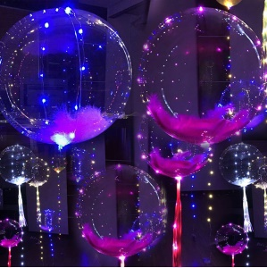 18 inch Colorful LED Light Up Balloon Luminous LED Bubble Balloon for Wedding Party Decoration - Transparent