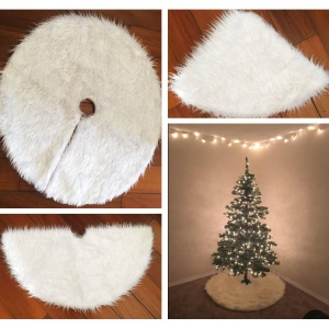 Plush Christmas Tree Skirt Pure White Tree Skirt for Christmas Decoration Home Decor - Diameter: 122cm
