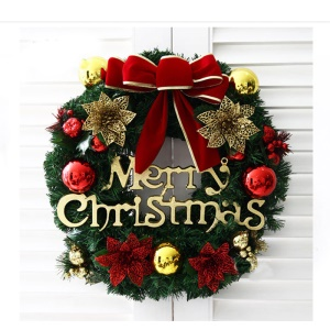 Christmas Wreath Door Decoration with Bowknot and Flower Ornaments