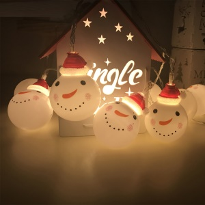2m 10-LED Christmas Snowman String Lights for Christmas Party Garden Decoration - Warm White Light