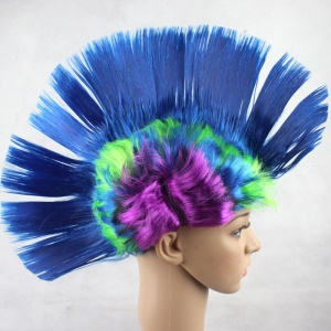 Masquerade Hallowmas Punk Mohawk Cockscomb Hair Wig - Dark Blue