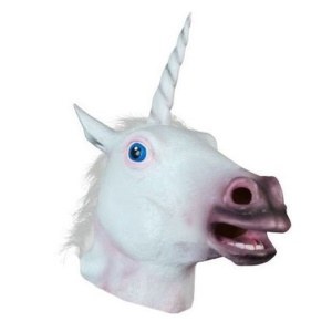 Funny Latex White Unicorn Head Mask for Halloween Costume Party