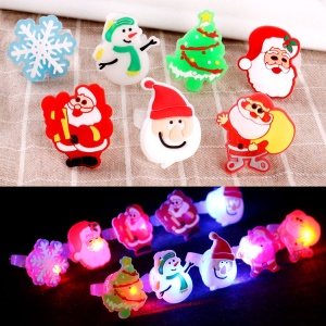 12 Pcs Christmas Pattern Decoration LED Luminous Ring Children's Toy for Christmas Party