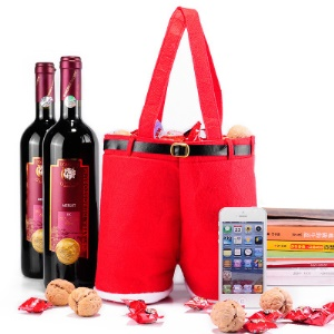 Christmas Wine Cover Red Wine Bottle Cover Christmas Gift Cover Candies Bag - Red