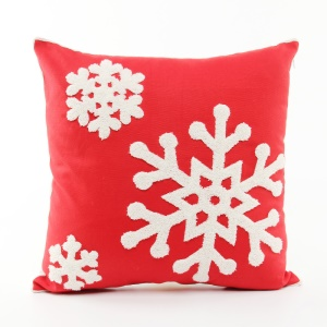 Christmas Series for Sofa Throw Pillow Case Embroidered Cotton Decorative Pillowcase Cushion Cover - Snowflake / Red Background