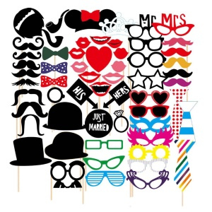 58PCS Photo Booth Props Mustache Lip Bowknot DIY Kit for New Year Christmas