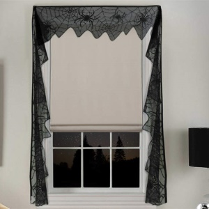 Black Lace Spider Web Window Curtain Halloween Party Supplies, Size: 240x11inch