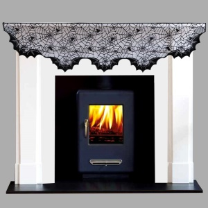Black Lace Spider Web Stove Towel Halloween Party Decor, Size: 20x80inch