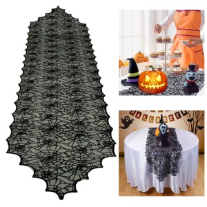 Black Lace Spider Web Table Runner Tablecloth Halloween Party Dinner Table Cover, Size: 18x72inch
