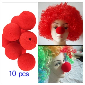 10Pcs/Set Red Sponge Clown Nose for Halloween Party Masquerade Costume Ball