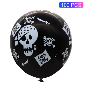 100pcs / Pack Coole Piratenschädel-Musterlatexballone Für Halloween-Partydekoration