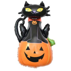 Aluminum Foil Balloon Kids Toy for Halloween Party Decoration - Pumpkin Cat