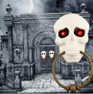Halloween Horror Prop Party Decoration Scary Skull Doorbell with Light-up Eyes