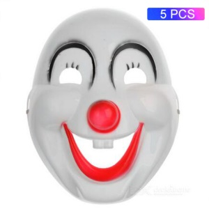 5pcs / Set Drôle Halloween Souriant Visage Clown Masques Masques Complets