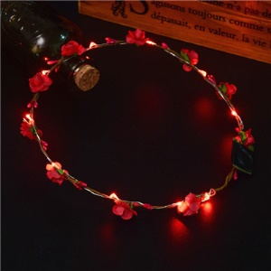 10PCS/Set Luminous Flower Wreath Headband with 10 LEDs for Wedding Festival Holiday Christmas Halloween Party - Red