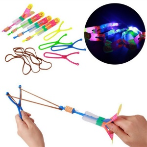 3Pcs Slingshot LED Helicopter Lighting Toy Flying Arrow Rocket Helicopter Fly Funny Toy Gift - Random