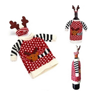 Christmas Wine Bottle Cover Wrap Novelty Decoration Deer Pattern with Hat