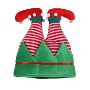Funny Christmas and Holiday Party Pants Hat Creative Elf Hat - Green / Stripes