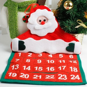 Christmas Santa Claus 24-Day Hanging Fabric Advent Calendar, Size: 30 x 40cm