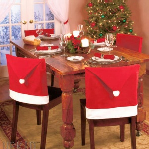 2Pcs/Set Santa Claus Hat Chair Back Cover Christmas Dinner Chair Decoration Cap Set