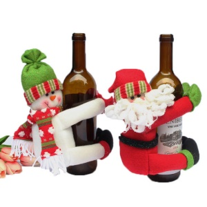 2-piece Christmas Wine Bottle Cover Novelty Decoration Santa Clause Hug Bottle
