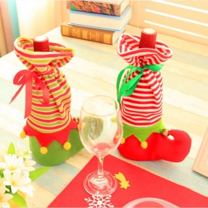 2Pcs/Set Christmas Elf Candy Candy Socks Wine bottle Wrap Bag
