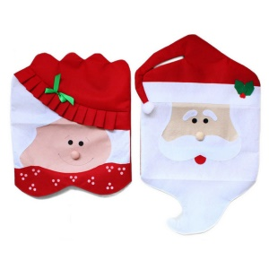 2 Pieces Mr & Mrs Santa Claus Christmas Kitchen Chair Covers for Home Decoration