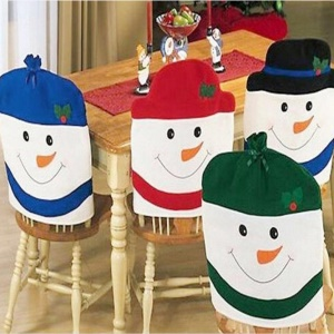 4pcs/set Lovely Christmas Snowmen Kitchen Chair Covers for Home Decoration