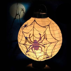 Hanging Paper Halloween Lantern with LED Light for Holiday Decorations - Spider Web