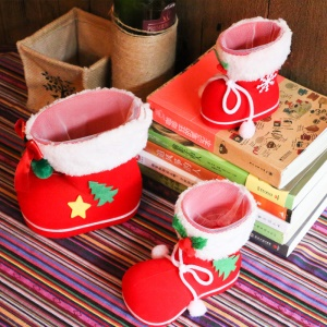 Christmas Candy Sweets Carrying Boots Gifts Storage Shoes Festival Decor, Size: 13 x 7 x 10cm - M Size / Red